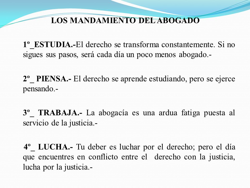 LOS MANDAMIENTO DEL ABOGADO