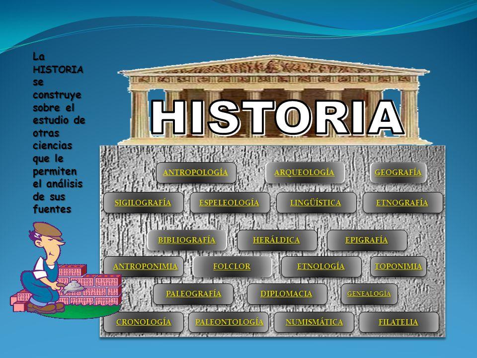 La HISTORIA se construye sobre el estudio de otras ciencias que le permiten el análisis de sus fuentes