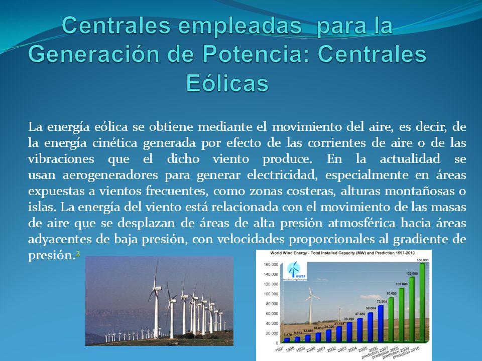 Centrales empleadas para la Generación de Potencia: Centrales Eólicas