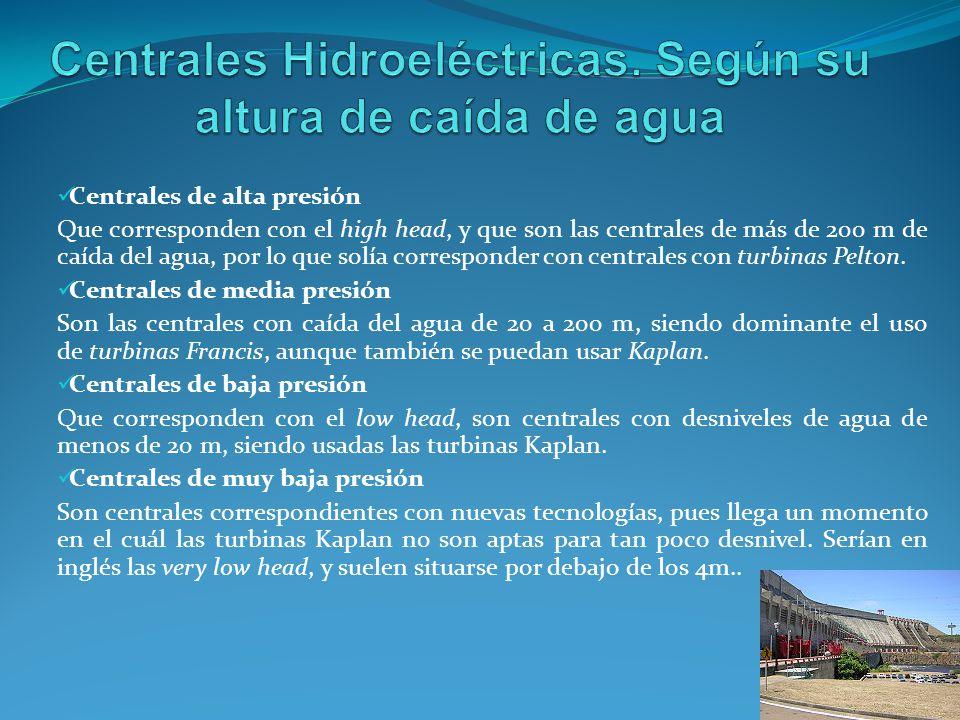Centrales Hidroeléctricas. Según su altura de caída de agua