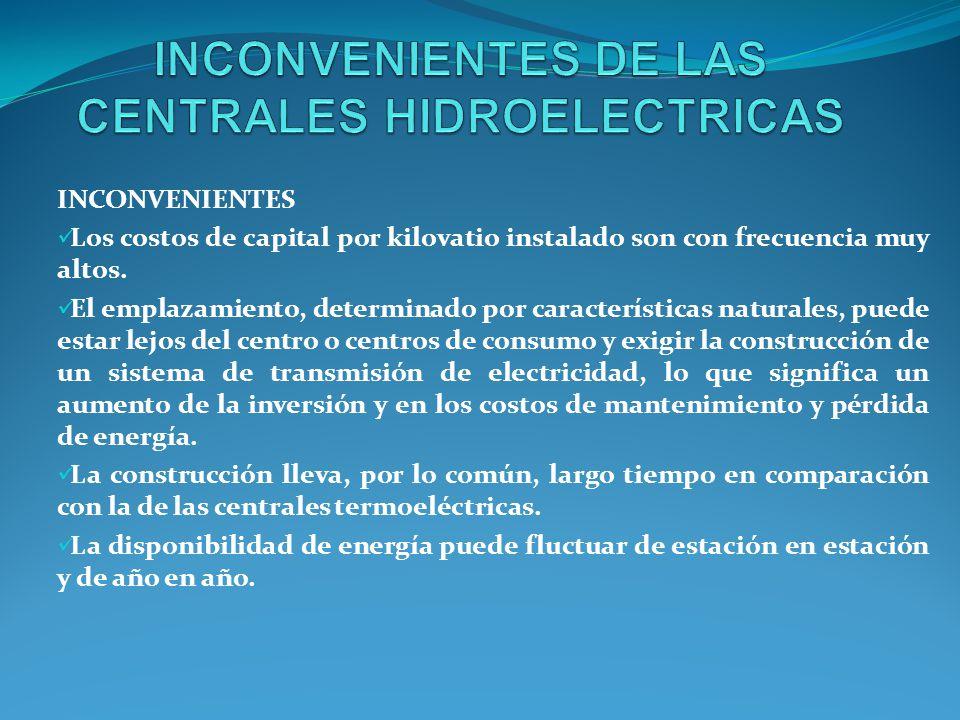 INCONVENIENTES DE LAS CENTRALES HIDROELECTRICAS
