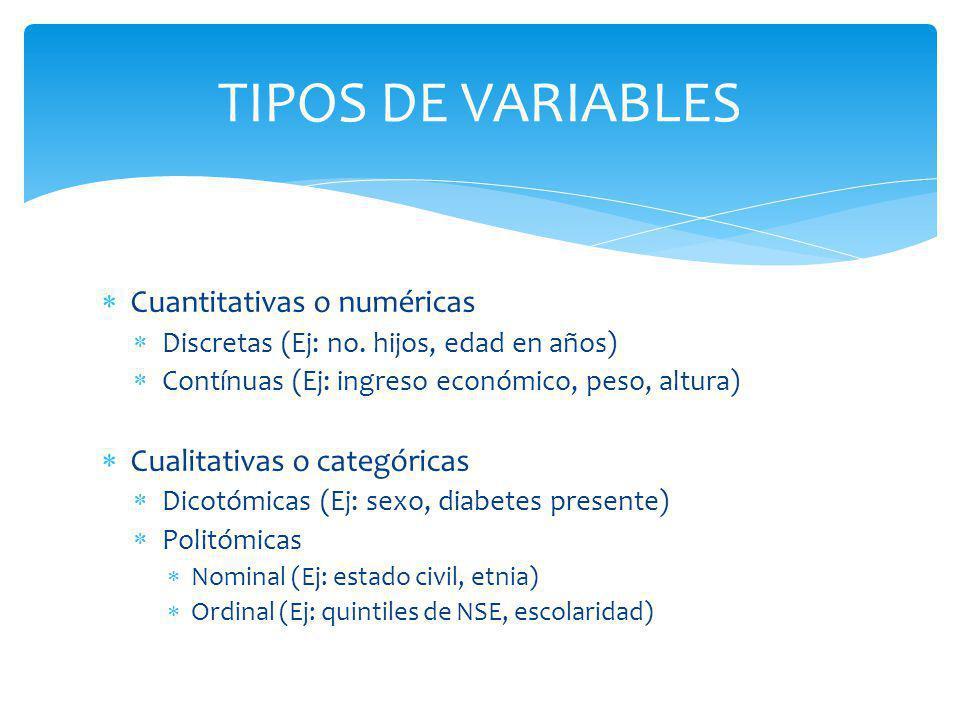 TIPOS DE VARIABLES Cuantitativas o numéricas