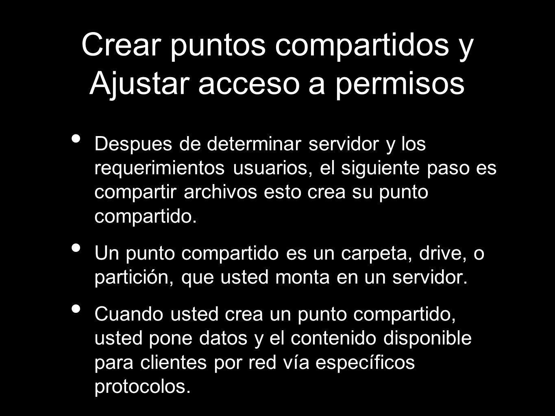 Crear puntos compartidos y Ajustar acceso a permisos