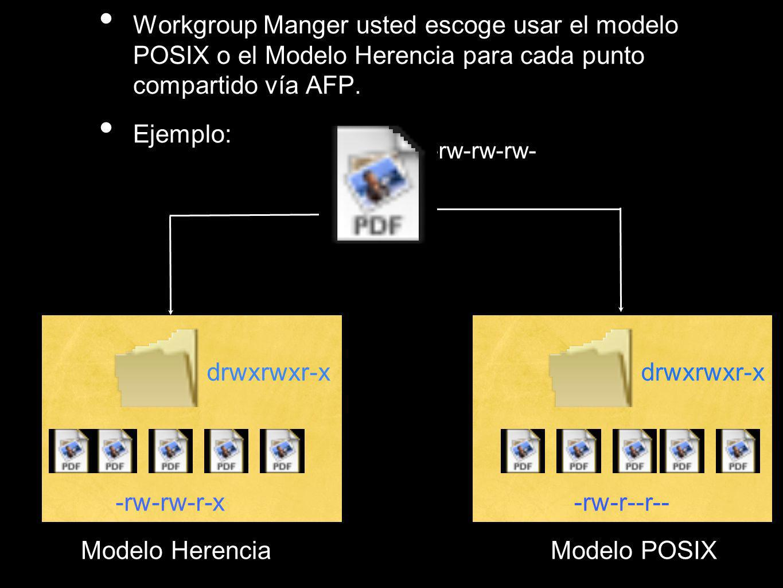 Workgroup Manger usted escoge usar el modelo POSIX o el Modelo Herencia para cada punto compartido vía AFP.