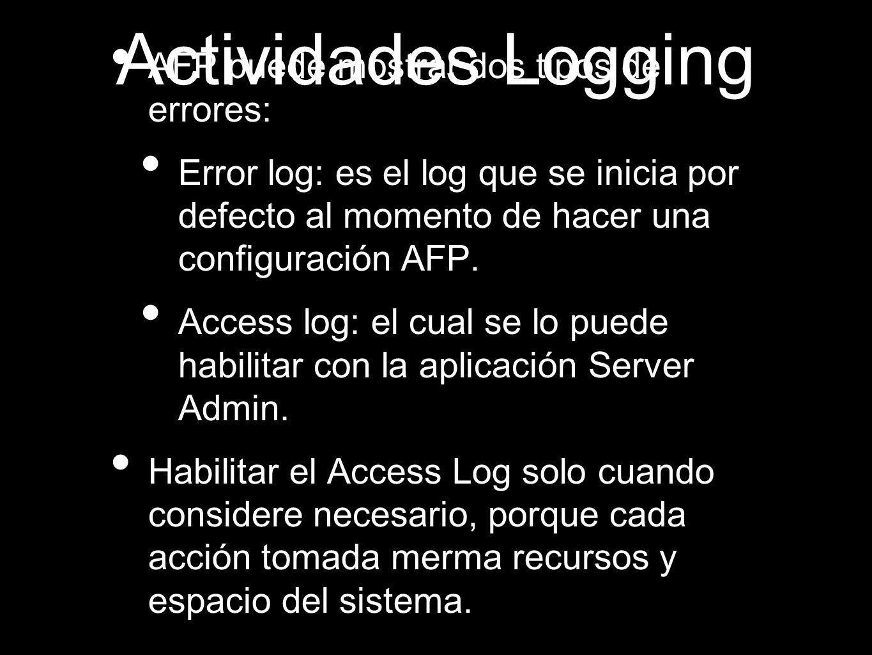 Actividades Logging AFP puede mostrar dos tipos de errores: