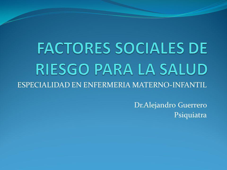 FACTORES SOCIALES DE RIESGO PARA LA SALUD