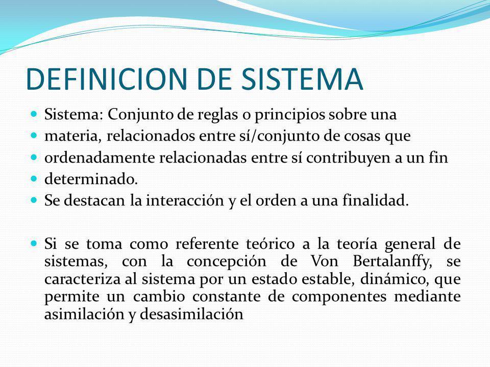 DEFINICION DE SISTEMA Sistema: Conjunto de reglas o principios sobre una. materia, relacionados entre sí/conjunto de cosas que.