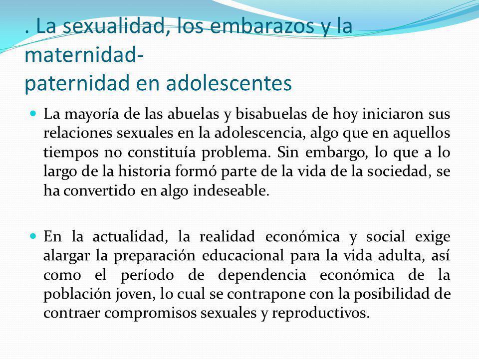 . La sexualidad, los embarazos y la maternidad- paternidad en adolescentes
