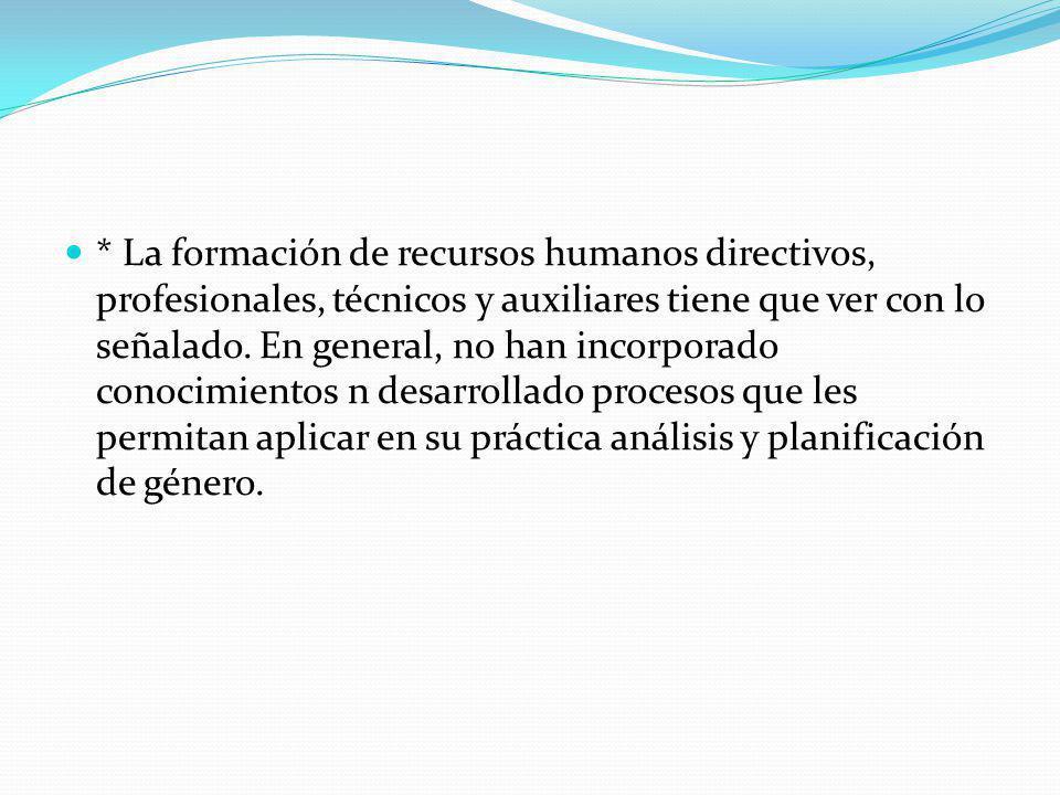* La formación de recursos humanos directivos, profesionales, técnicos y auxiliares tiene que ver con lo señalado.