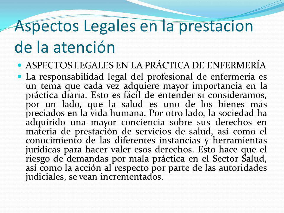 Aspectos Legales en la prestacion de la atención