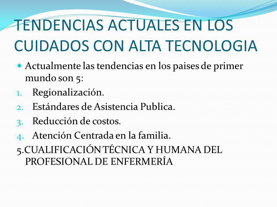 TENDENCIAS ACTUALES EN LOS CUIDADOS CON ALTA TECNOLOGIA