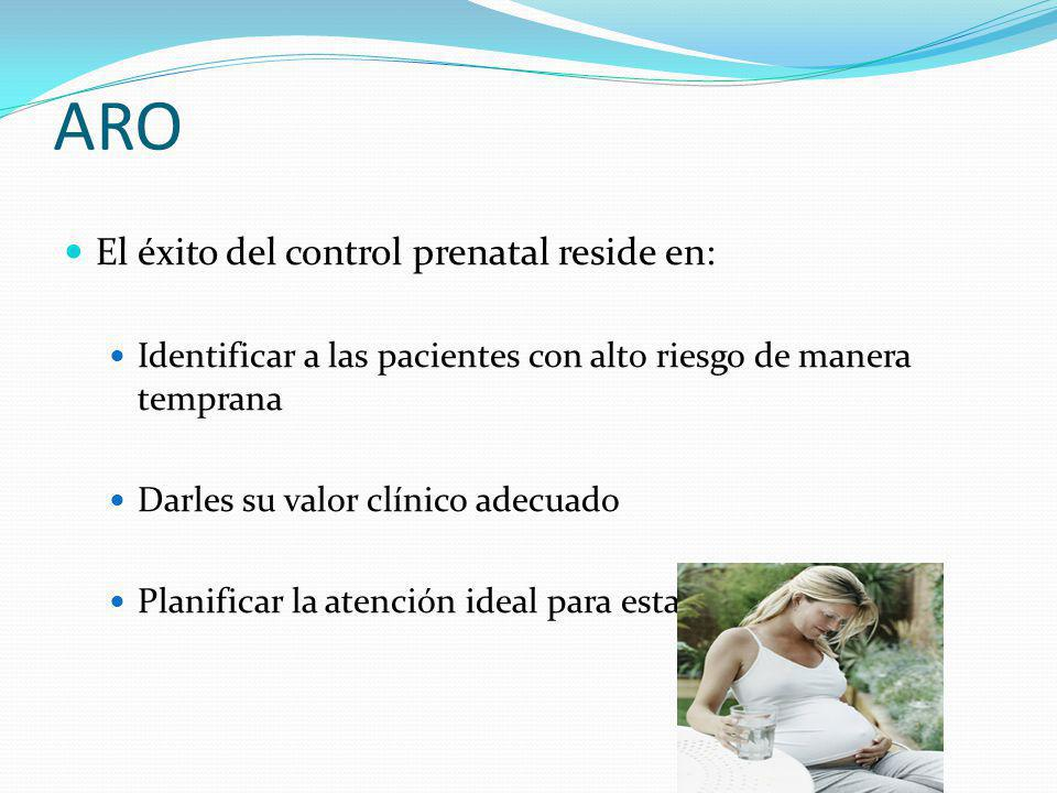 ARO El éxito del control prenatal reside en:
