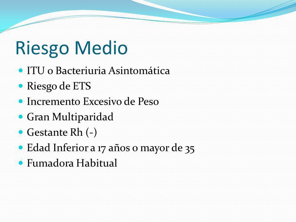 Riesgo Medio ITU o Bacteriuria Asintomática Riesgo de ETS