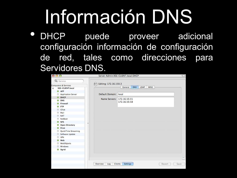 Información DNSDHCP puede proveer adicional configuración información de configuración de red, tales como direcciones para Servidores DNS.