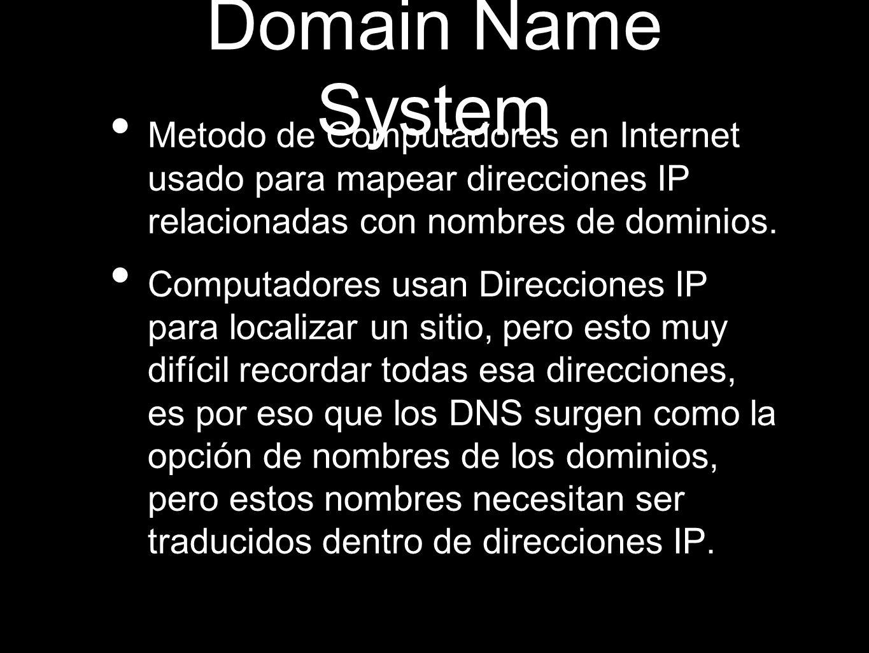 Domain Name System Metodo de Computadores en Internet usado para mapear direcciones IP relacionadas con nombres de dominios.