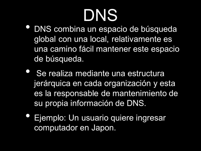 DNS DNS combina un espacio de búsqueda global con una local, relativamente es una camino fácil mantener este espacio de búsqueda.