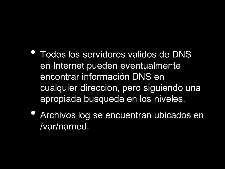 Todos los servidores validos de DNS en Internet pueden eventualmente encontrar información DNS en cualquier direccion, pero siguiendo una apropiada busqueda en los niveles.