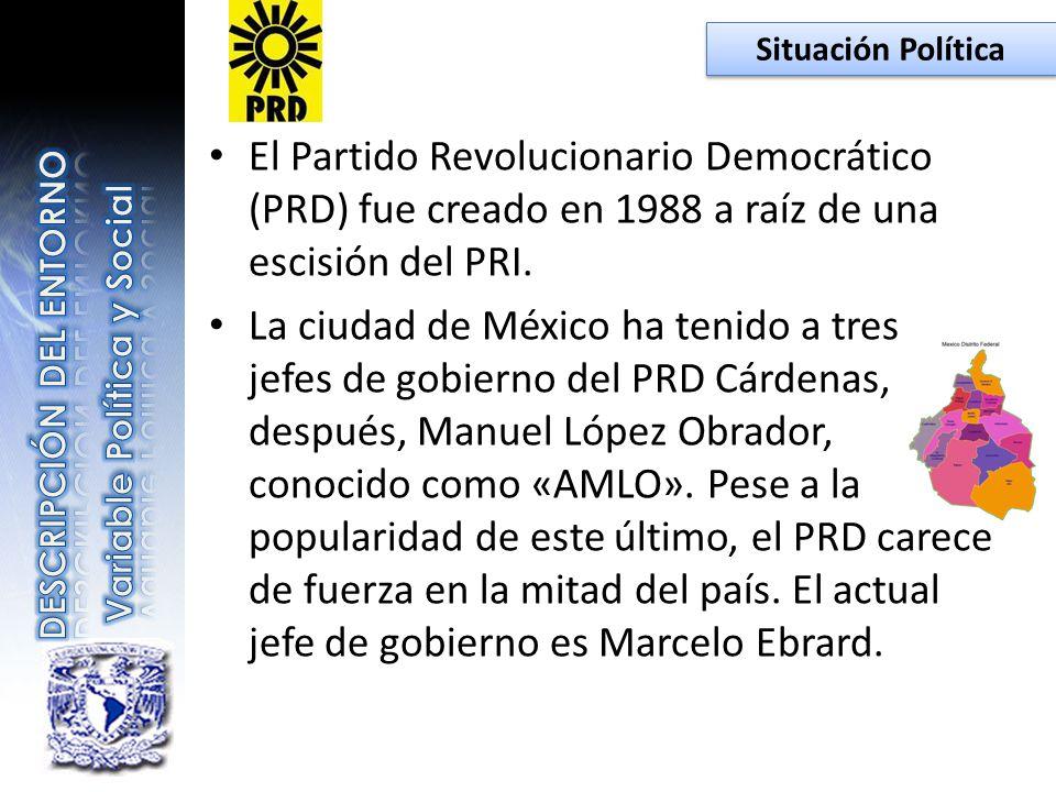 Situación Política El Partido Revolucionario Democrático (PRD) fue creado en 1988 a raíz de una escisión del PRI.