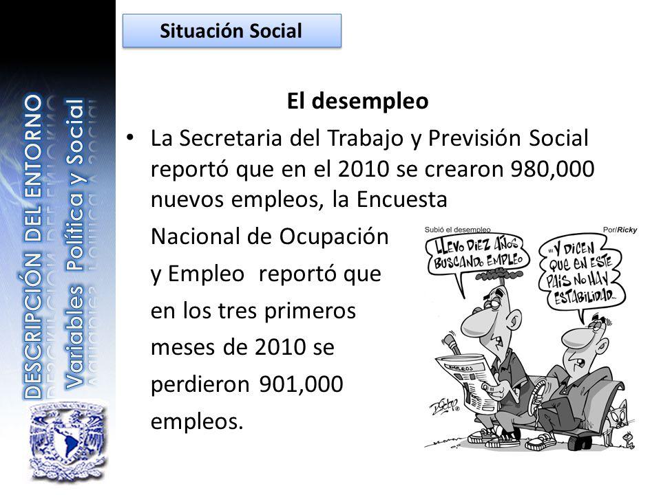 Situación Social El desempleo. La Secretaria del Trabajo y Previsión Social reportó que en el 2010 se crearon 980,000 nuevos empleos, la Encuesta.