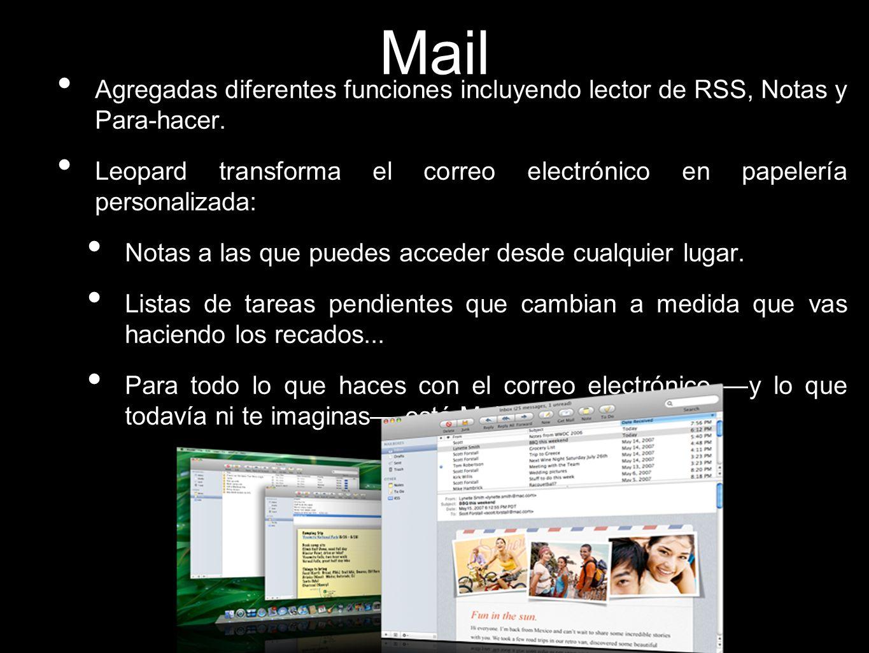 Mail Agregadas diferentes funciones incluyendo lector de RSS, Notas y Para-hacer.