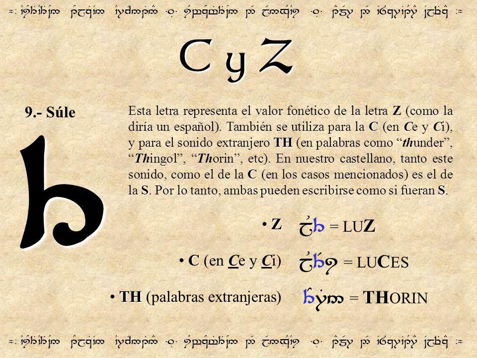 3 C y Z jU3 = LUZ jU3Ri = LUCES 3Y7T5 = THORIN 9.- Súle Z