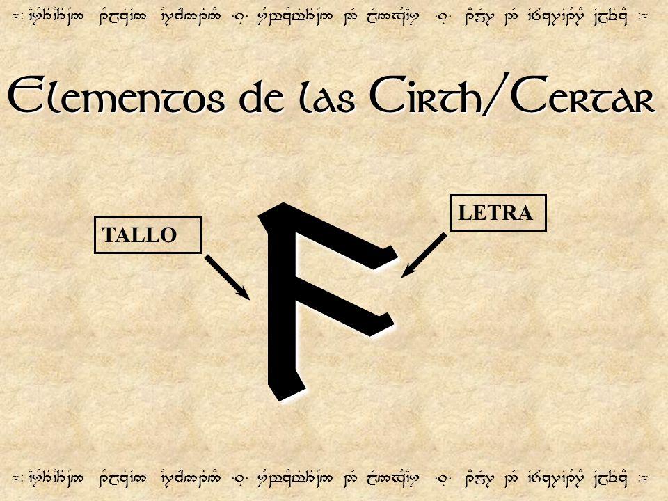9 Elementos de las Cirth/Certar LETRA TALLO
