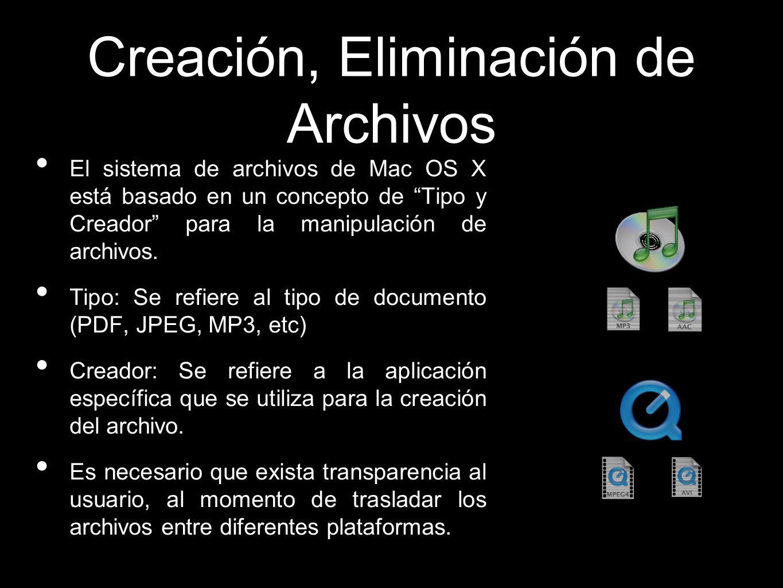 Creación, Eliminación de Archivos