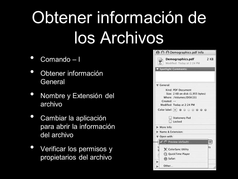 Obtener información de los Archivos