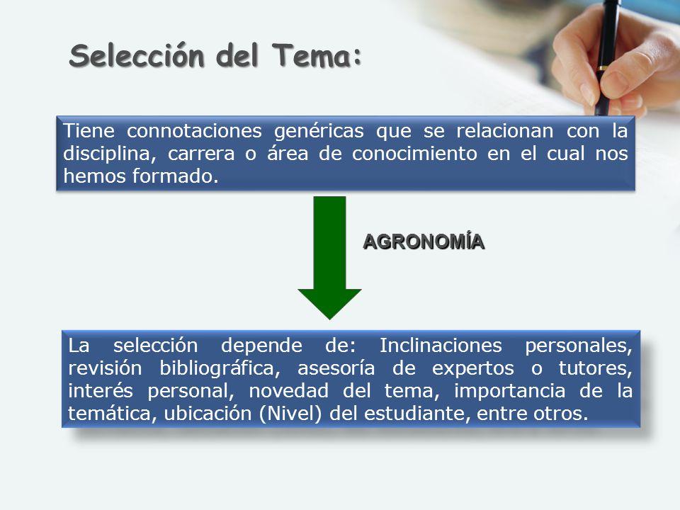 Selección del Tema: Tiene connotaciones genéricas que se relacionan con la disciplina, carrera o área de conocimiento en el cual nos hemos formado.