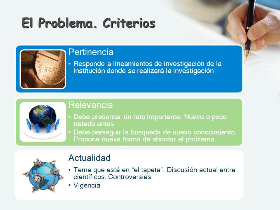 El Problema. Criterios Pertinencia Relevancia Actualidad