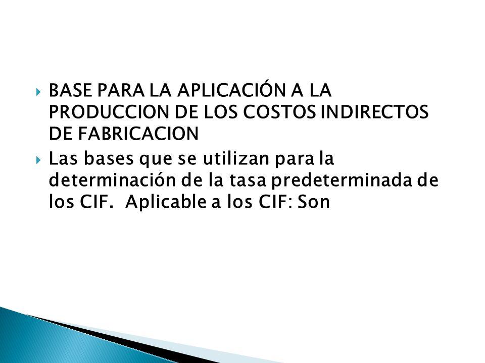 BASE PARA LA APLICACIÓN A LA PRODUCCION DE LOS COSTOS INDIRECTOS DE FABRICACION