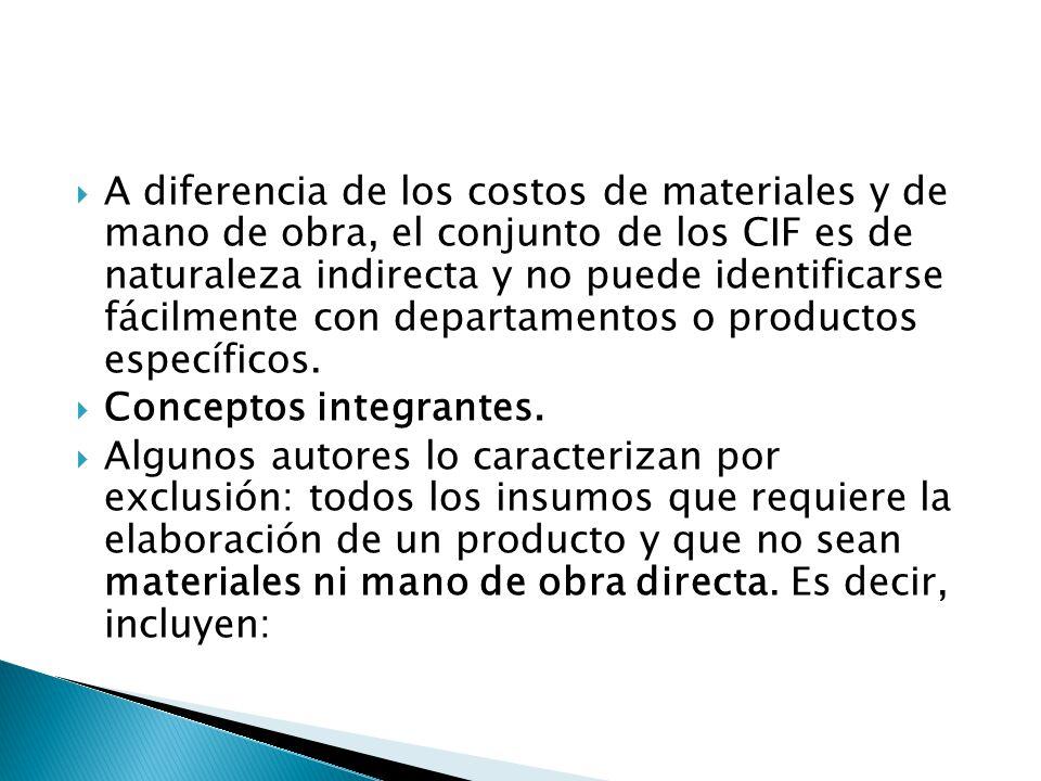A diferencia de los costos de materiales y de mano de obra, el conjunto de los CIF es de naturaleza indirecta y no puede identificarse fácilmente con departamentos o productos específicos.
