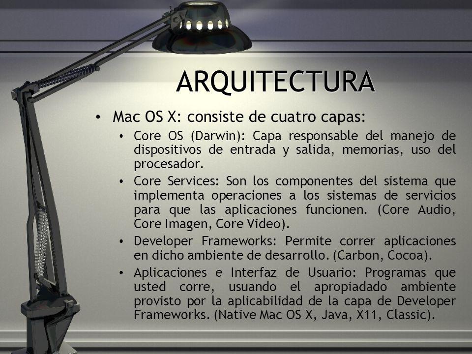 ARQUITECTURA Mac OS X: consiste de cuatro capas:
