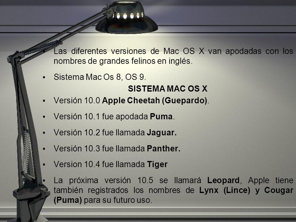 Las diferentes versiones de Mac OS X van apodadas con los nombres de grandes felinos en inglés.