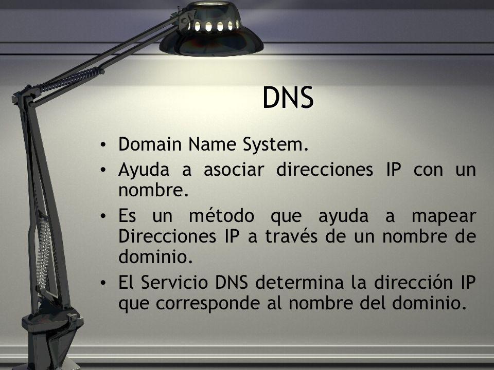 DNS Domain Name System. Ayuda a asociar direcciones IP con un nombre.