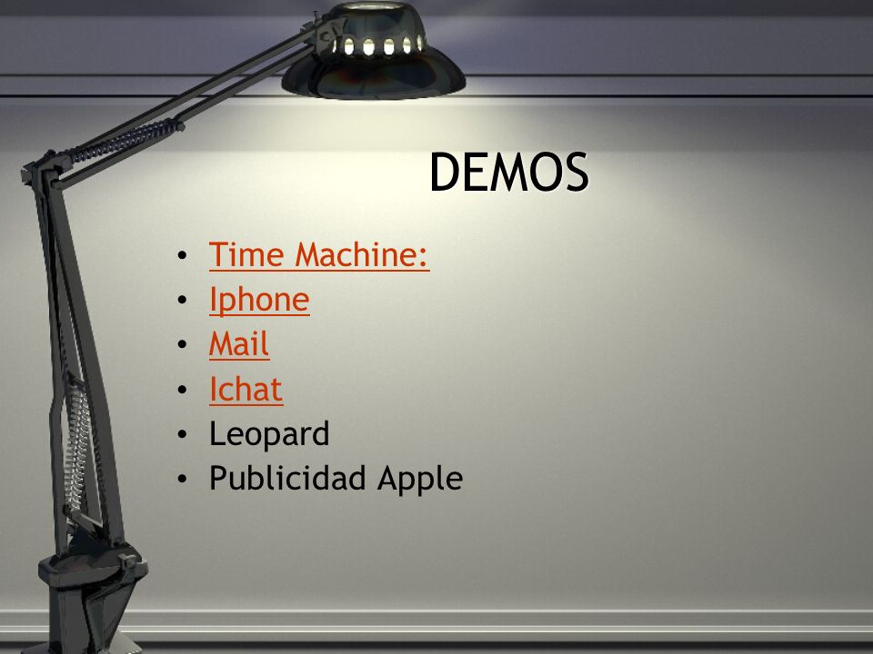 DEMOS Time Machine: Iphone Mail Ichat Leopard Publicidad Apple