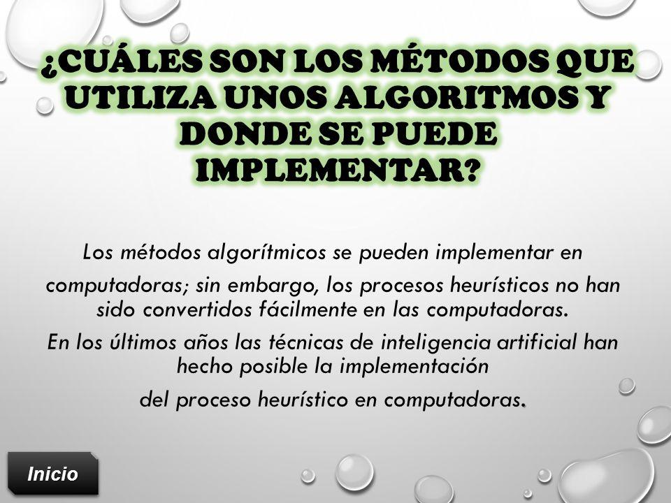 ¿Cuáles son los métodos que utiliza unos algoritmos y donde se puede Implementar