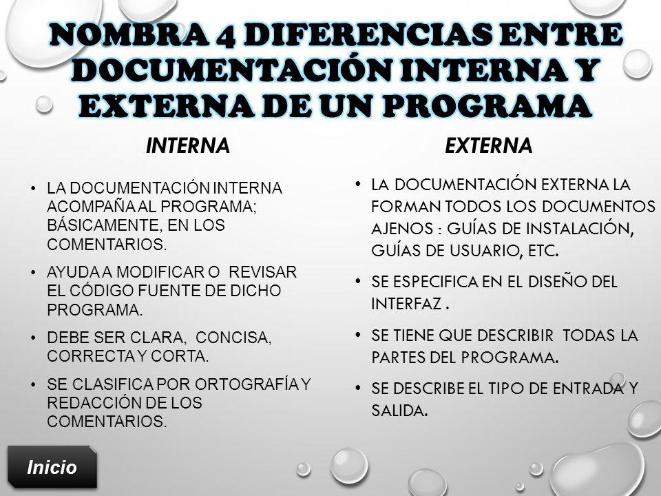 Nombra 4 diferencias entre documentación interna y externa de un programa