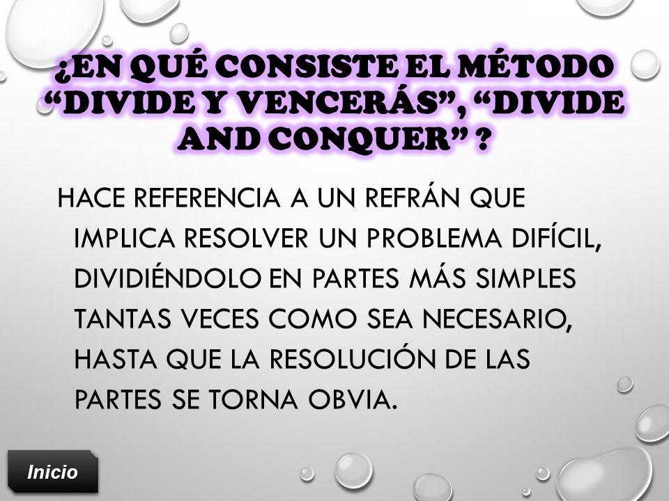 ¿En qué consiste el método divide y vencerás , divide AND CONQUER