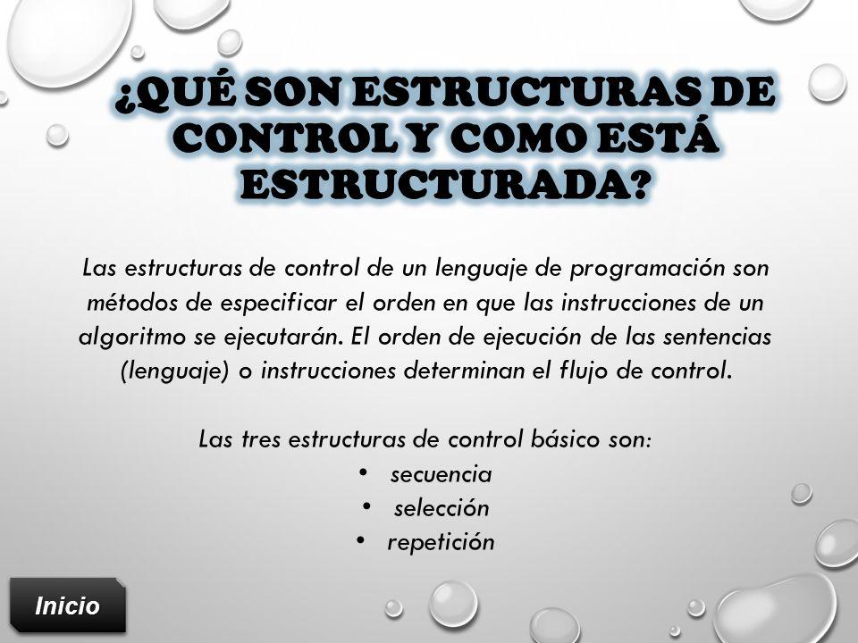 ¿Qué son estructuras de control y como está estructurada