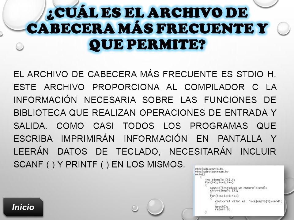 ¿Cuál es el archivo de cabecera más frecuente y que permite
