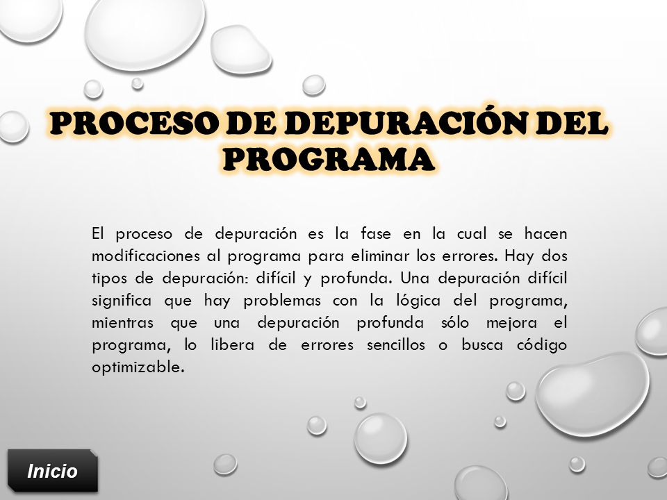 Proceso de depuración del programa