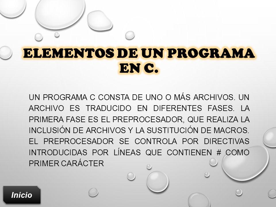 Elementos de un programa en c.