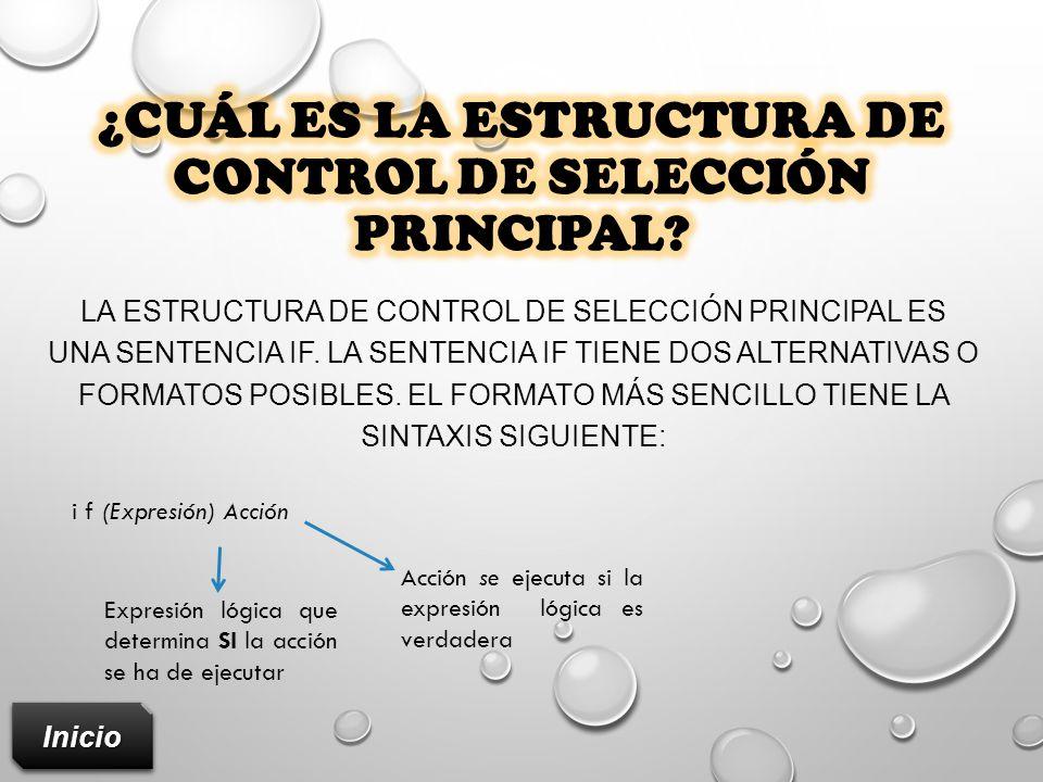 ¿Cuál es la estructura de control de selección principal