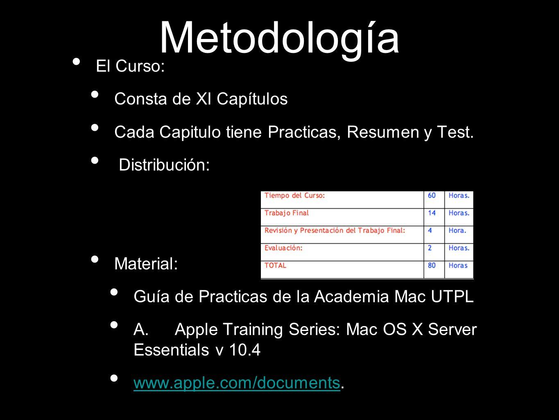 Metodología El Curso: Consta de XI Capítulos