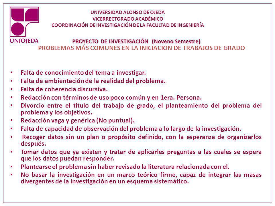 PROBLEMAS MÁS COMUNES EN LA INICIACION DE TRABAJOS DE GRADO