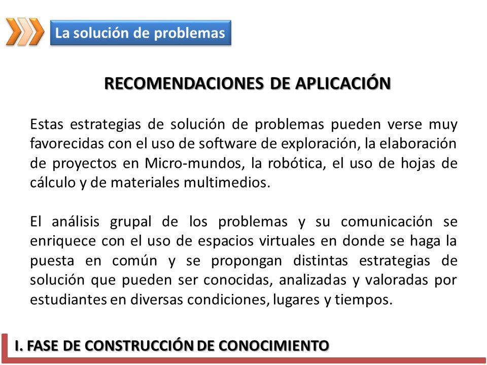RECOMENDACIONES DE APLICACIÓN