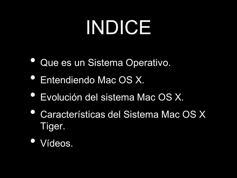 INDICE Que es un Sistema Operativo. Entendiendo Mac OS X.