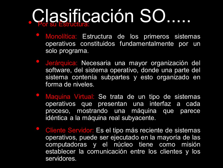 Clasificación SO..... Por su Estructura:
