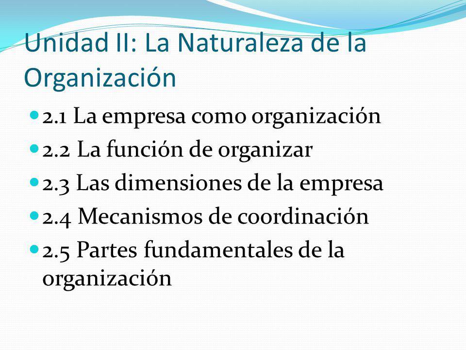Unidad II: La Naturaleza de la Organización